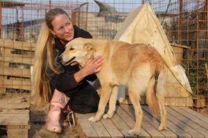 Sini Isaksson Glinan koiransuojelijoiden tarhalla Romaniassa. Kuva: Taija Jolanki