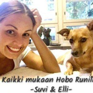"""Hobo Runin juontajalla Suvi Hartlinilla ja hänen Romaniasta kotoisin olevalla suloisella Elli-koiralla on kaikille kehoitus: """"Nyt kaikki mukaan liikkumaan hyvän asian puolesta!"""" Kuva: Suvi Hartlin"""