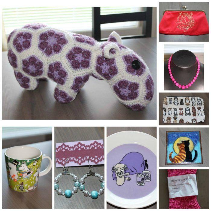 Huutiksessa on tarjolla esimerkiksi kuvassa näkyviä, supersuosittuja hippoja, Muumi-astioita sekä upeita koruja.